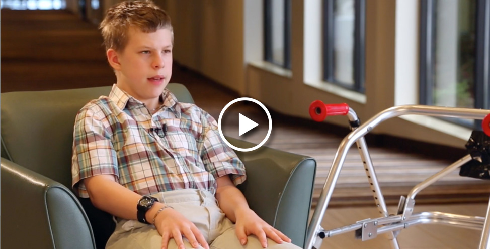 Brandon Liston, Easter Seals Ambassador and his walker