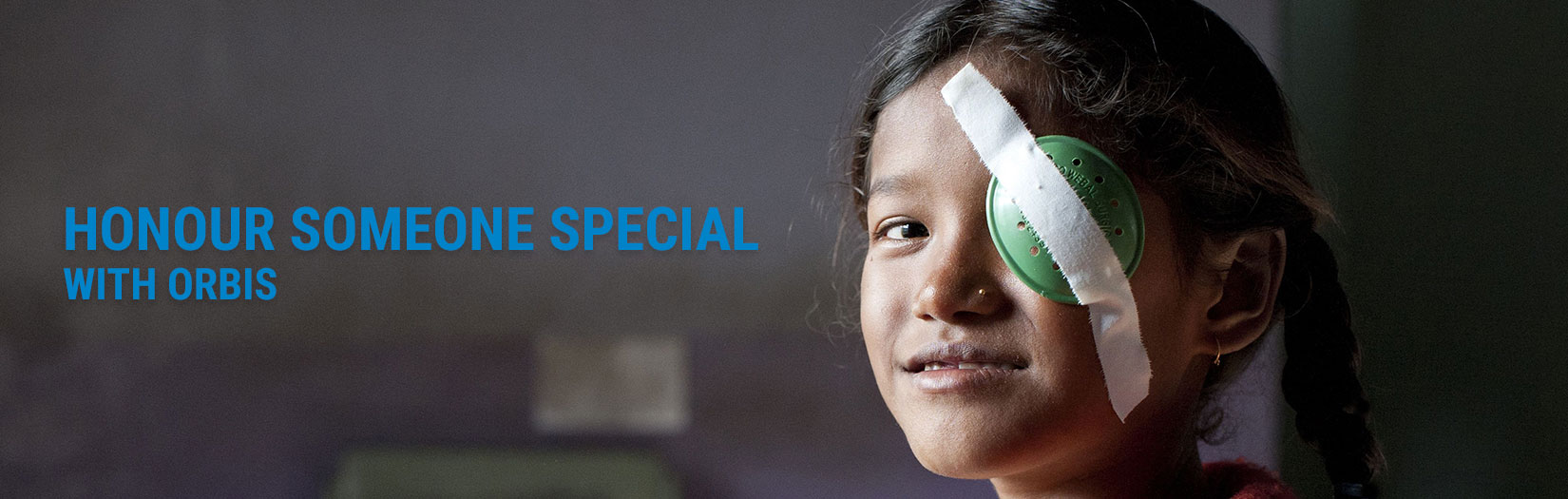 Orbis in honour - Young girl with eye cover