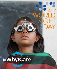 Young girl getting eye exam - World Sight Day