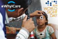 Young child getting eye exam - World Sight Day