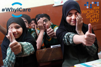 School Students Giving thumbs up - World Sight Day