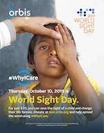 Young boy getting eye exam - World Sight Day