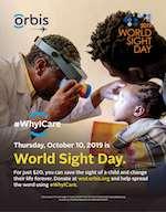 Baby girl getting eye exam - World Sight Day